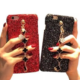 Wholesale clover iphone - Shimmering Powder Clover Bracelet Phone Case Bling Diamond Wristband Flickering Back Cover Wrist Strap Shell for iPhone X 6s 7 8 Plus