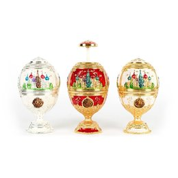 Wholesale egg shaped boxes - 3 COLOR European Painting Ornaments Toothpick Box Castle Egg Shaped Toothpick Party Favor Christmas Gifts Table Decoration