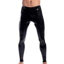 Pantalon de bondage en Ligne-Haute Stretch Hommes Noir Faux Cuir Latex Crayon Leggings Très Slim Wetlook Bondage Pantalon Gay Mâle Mode Slim Sexy Lingerie