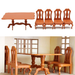 Wholesale Furniture Dining Tables - DIY Miniatura Furniture Dining Tables Chairs Sets For Mini Doll House Miniatures Furniture Toys Gifts For Children Adult