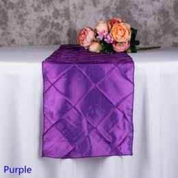 Wholesale Purple Table Runners Wholesale - Purple Colour Modern Table runner Pintuck Taffeta Embroider Plaid Design Wedding Hotel Banquet Party Home Decoration Luxury