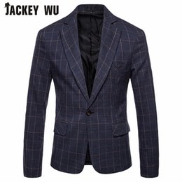 e04cbbccff53 business casual herren jacken grau Rabatt JACKEY WU Herren Casual Anzug 2018  Herbst New Herren Plaid