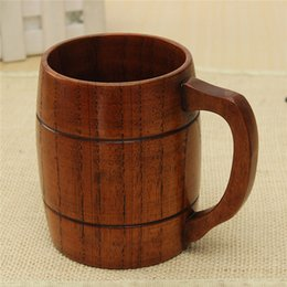 Wholesale Wooden Coffee Mugs - 2017 New Big Promotion !Eco -Friendly 400ml Classical Wooden Beer Tea Coffee Cup Mug Water Bottle Heatproof Home Office Party Drinkware