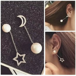 Wholesale 14k Gold Star Stud Earrings - Moon and Star Shell Pearl Long Cute Lovely hanging dangling Stud Earring Zircon Shinning Cubic Stone Young Lady