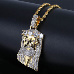 Wholesale big stone necklaces - New Fashion Copper Gold Color Plated Iced Out Jesus Face Pendant Necklace Micro Pave Big CZ Stone Hip Hop Bling Jewelry