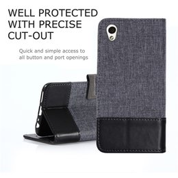 Wholesale Canvas Wallet Case - Soft TPU+PU Leather Canvas Wallet Stand Case Cover for Sony Xperia L1