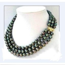Wholesale 8mm south sea pearls - triple strands SOUTH SEA AAA 7-8MM BLACK PEARL NECKLACE 14K Gold Clasp