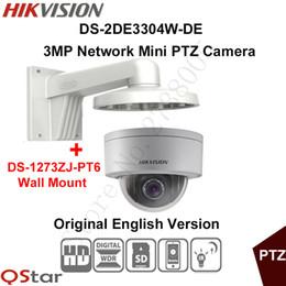 Wholesale Hikvision 3mp Ip Camera - Hikvision Original English PTZ DS-2DE3304W-DE 3MP Mini PTZ IP Camera IP67 PoE Day Night Security Camera+Wall Mount DS-1273ZJ-PT6