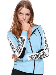 Wholesale girls autumn coat - 2018 Women Pink Letter Hoodies Sweatshirts Love Pink Coat Jackets Long Sleeve Hooded Jacket Letter Printed Hoodie Pullover Girls Top Clothes