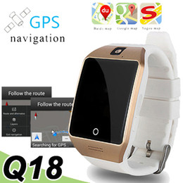 Wholesale Mens Golden Wrist Watches - Q18 Bluetooth Smart Watches With Camera Wearable Luxury Mens Watches With Package Passometer Email SIM Card Slot Wristband Smartwatch