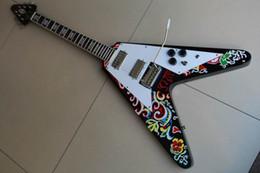 2019 guitarras zakk wylde Venta al por mayor nueva llegada Gibsonflying V Jimi Hendrix Psychedelic 1967 Flying V guitarra eléctrica colorida 120326