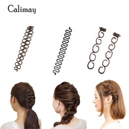 Wholesale Braiding Braid Hairstyles - 3 styles set Magic Hair Clip Braider Stylist Queue Twist Plait Hair Braid DIY Hairstyle Styling Accessories Roller Hair Braiding