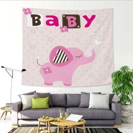Tapices de lona online-Dibujos animados de pequeños dinosaurios Oso engrosamiento tapiz colgando de la habitación de los niños fondo de la pared lienzo decorativo poliéster cortinas