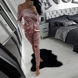 Wholesale overalls for ladies - European Style Sexy Off Shoulder Velvet Jumpsuit Women Slim Bodycon Overalls Rompers Ladies Casual Long Pants for Autumn Winter