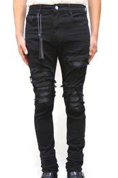 2019 cuir en détresse Les nouveaux hommes en cuir nervuré Patches Distressed jeans skinny cuir en détresse pas cher