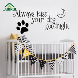 etiqueta do berçário do cão Desconto Sempre Beijar Seu Cão Goodnight Padrão Letras de Vinil Adesivos de Parede para o Berçário Crianças Quarto Doce Home Decor Murais K560