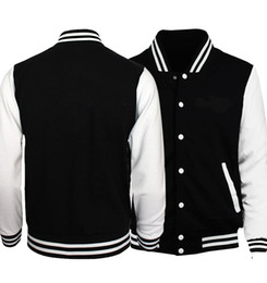 New  Jacket Men Black White Baseball Uniform Solid Color Jackets Spring Autumn Customize Print Sportswear Plus Size S-5XL от