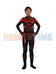 Wholesale Spandex Zentai Superman - Free shipping Black & Red DC Comics Superman Superhero Costume spandex cospaly zentai suit adult kids customized