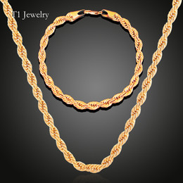 Hip HOP top Quality 18k gold Plated Stainless Steel Rope Chain Necklace Bracelet Rock Jewelr sets for men women 60cm long 3mm Coupons