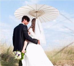 Wholesale Paper Parasols Weddings - Bridal Wedding Parasols White Paper Umbrellas Chinese Mini Craft Umbrella Diameter 20 30 40 60cm Wedding Umbrellas DHL FEDEX free