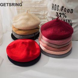 29704427ce62f peach beret 2019 - GETSRING Women Hat Wool Berets Retro Artist Pumpkin Cap Painter  Hat Cap