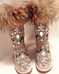 kalbhaarstiefel Rabatt Heiße Winterfrau Warme Fox Hair Snow Boots Weibliche Slip-on Flache Schuhe Frau Casual Mitte der Wade Stiefel Mädchen Bling Kristall Stiefel