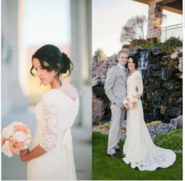 Wholesale Romantic Country - Romantic Beach Wedding Dresses 2017 With 3 4 Sleeve Jewel Lace Modest White Boho Bohemian Bridal Gown Vestidos De Noiva Country Stry Dress