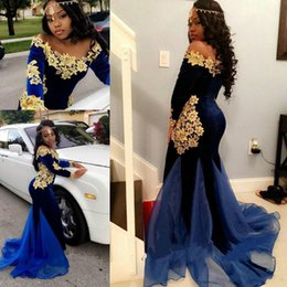 Wholesale Tassels Off Shoulder Dress - Sexy Saudi Arabic 2018 Prom Dresses Royal Blue Velvet Gold Appliques Mermaid Evening Gowns Long Sleeve Off Shoulder African Special Occasion