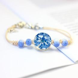 Wholesale porcelain beads flowers - ceramic bracelet dry flower ball bracelet han edition fresh girlfriends all over the sky star ball bracelet female student contracted