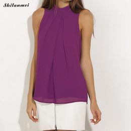 987215c25b 2018 Summer Chiffon Shift Women Sleeveless Solid Color Black Purple White  Tops Ladies Casual Blouses Fashion Camiseta Feminina