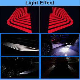 Wholesale Laser Logo Car Door Bmw - 2X Car LED Door Welcome Logo Laser Projector Ghost Shadow Light For Ford BMW Toyota Fit For Universal Cars Red white 2018 newest