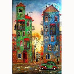 2019 haus malerei farbe 5D Diy Kreuzstich, Farbe Gebäude, Cartoon Haus, Diamant Stickerei, Dekoration, Handwerk, Stickerei Strass, Malerei, Geschenke rabatt haus malerei farbe