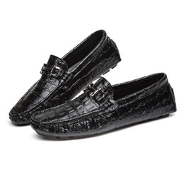 Wholesale Horsebit Loafers - Moccasin-gommino Men Genuine Leather Shoes Solid Color Crocodile Spring And Autumn Dress Shoes Adults Fashion Horsebit Loafers Driving Shoes