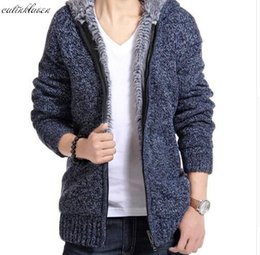 Wholesale Men Winter Sweater Fur - Jacket Men 2017 Thick Velvet Cotton Hooded Fur Jacket Mens Winter Padded Knitted all-match Casual Sweater Cardigan Coat Spring
