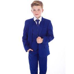Argentina Conjunto de tres piezas del juego del muchacho (abrigo + pantalones + chaleco), traje formal azul del muchacho de la manera delgada, vestido de la muchacha de flor de la boda cheap boys royal blue vest Suministro