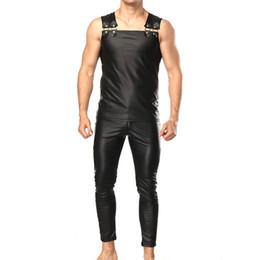 pantalones de cuero para hombre Rebajas Faux Leather Men establece con Tank top Pantalones Sexy Slim Club Party Espectáculo Performance Ropa masculina Establece Black Solid Fashion Punk