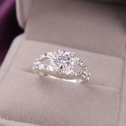 Wholesale Peridot Heart - Wedding Ring Alloy Love Heart Topaz Peridot Amethyst Garnet Sparkle crystal CZ diamond Rhinestone Eternity Ring Size 6 7 8 9