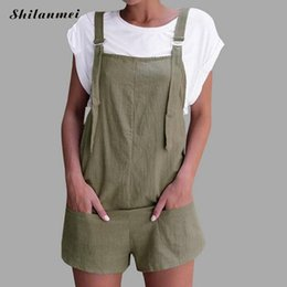 501a4d61f8d 2018 New Summer Rompers Womens Jumpsuits Khaki Casual Pockets Loose Short  Playsuits Green Strap Backless Ladies Overalls Shorts