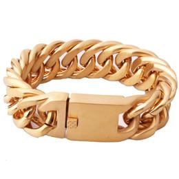 Bijoux pionnier en Ligne-Haute Qualité En Acier Inoxydable Or Gourmette Cubaine Lien de Chaîne Épais Bracelets Trendsetter Bijoux Rappeur Hommes Femmes Accessoires Bracelet