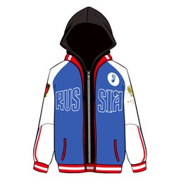 Wholesale Yuri Costume - YURI on ICE Yuri Plisetsky False Two Pieces Hoodie Cosplay Costume Hooded Jacket Sportswear Daily Casual Sweatshirts Size S-XXXL