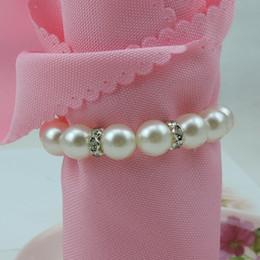 nouvelle arrivée nouveau brillant blanc rond perles d'imitation anneaux de serviette pour dîner de mariage, douches, vacances, accessoires de décoration de table wn263D ? partir de fabricateur