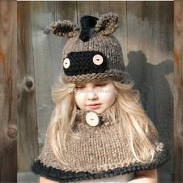 bufanda de lana para bebé Rebajas Baby Girls niños burro animal tejer gorras  bufanda conjunto dibujos a2f04c09310
