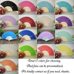 Wholesale hot chocolate candy - DHL Free Shipping Wedding Favors Gifts Cloth Fodling Fan Elegant Solid Candy Color Silk Bamboo Fan DIY Drawing Color Fan