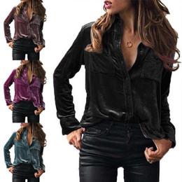13dfe9e74fd89a Women Fashion Velvet Button Down Boyfriend Top Shirt Long Sleeves Spring  Autumn Blouse blue velvet blouse for sale