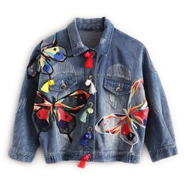 Wholesale Neck Patch - Colorful Butterfly Embroidery Ladies Jean Jackets Patch Designs Womens Denim Coats with Tassel Short Chaquetas Mujer Slim Jacket