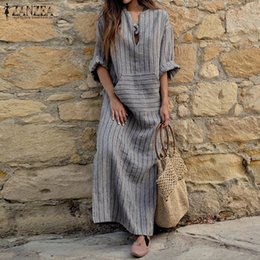 Wholesale Long Sleeve Kimono Maxi Dress - 2018 Autumn ZANZEA Women Striped Dress Sexy V Neck Long Sleeve Maxi Long Dresses Vintage Casual Loose Plus Size Vestidos