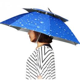 Wholesale Sunny Hats - Windproof Sun Rain Double Umbrella Hat Fishing Outdoor Shade Camping Photographing Headwear