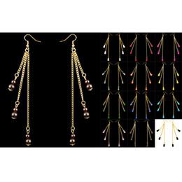 Chaîne de lustre acrylique en Ligne-Boucles d'Oreilles Perles Rondes 12 Couleurs Acrylique Crochet Perle Doré Chaîne Lustre Balancent Eardrop Gros Lots (Blanc Noir Gris Bleu Ciel) (JZ022)