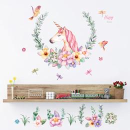 adesivo de parede de unicórnio Desconto Unicorn adesivo de parede para quarto decoração do quarto do bebê dos desenhos animados adesivo de parede PVC adesivos C5531