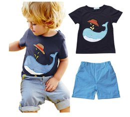 Wholesale Infant Clothes For Boys - HOT SELL 2018 New Style Children's Clothing For Boys And Girls Sports Suit Baby Infant Short Sleeve Clothes Kids Set 1-8 Age